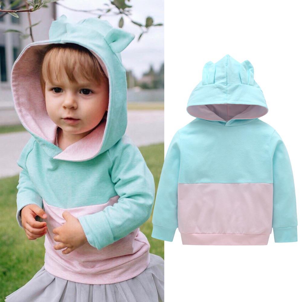 73e3be5df2b2b Toddler Baby Kids Boy Girl Cartoon 3D Ear Hoodie Sweatshirt Tops Clothes  Outfits Cartoon Animal Hoodies Casual Baby Boy Clothes