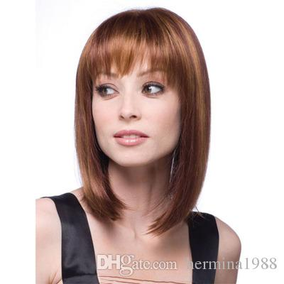 Straight Black Synthetic Wigs With Bangs For Women Medium Length