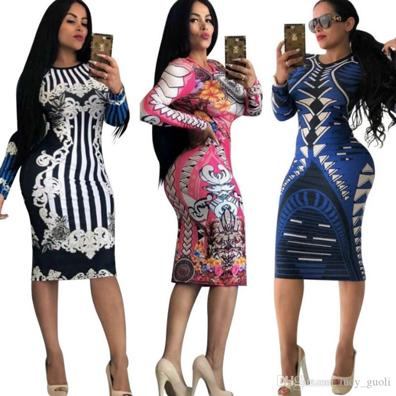 e983bb0947a06 New Women Ladies Sexy Bodycon Dress Slim Long Sleeve Evening Party Dress  Clubwear Pencil Dresses stripe Lattice Knee-Length Bandage dress