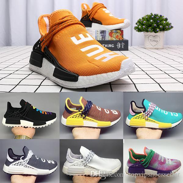 new style 27b7e 1ecd1 Orange Human Race Hu trail pharrell williams men running shoes Nerd black  cream mens trainer women designer sports runner sneakers Eur 36-47
