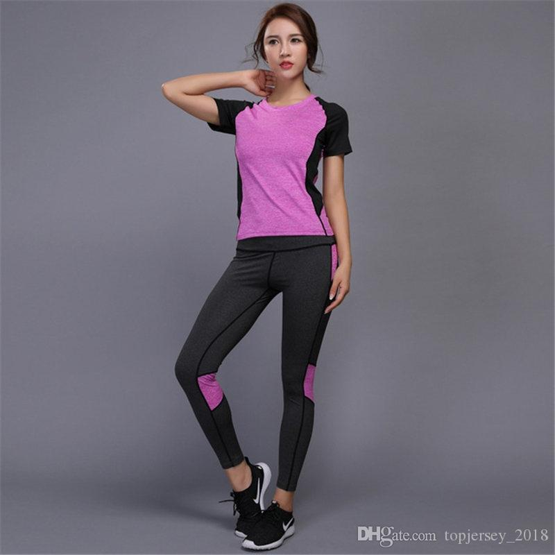 593fe1d46bc2 2019 Women Yoga Sets Tights Running Sports Suit Female Fitness Tennis Set  Elastic Workout Leggings Gym Clothing Shirt+Pants  74241 From  Topjersey 2018