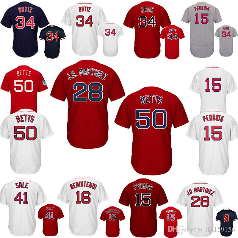 the latest a5de8 f0dfe Boston Red Baseball Jerseys Sox Pedroia 15 Dustin Betts 50 Mookie William 9  Ted Beninten 16 Andrew embroidery logo