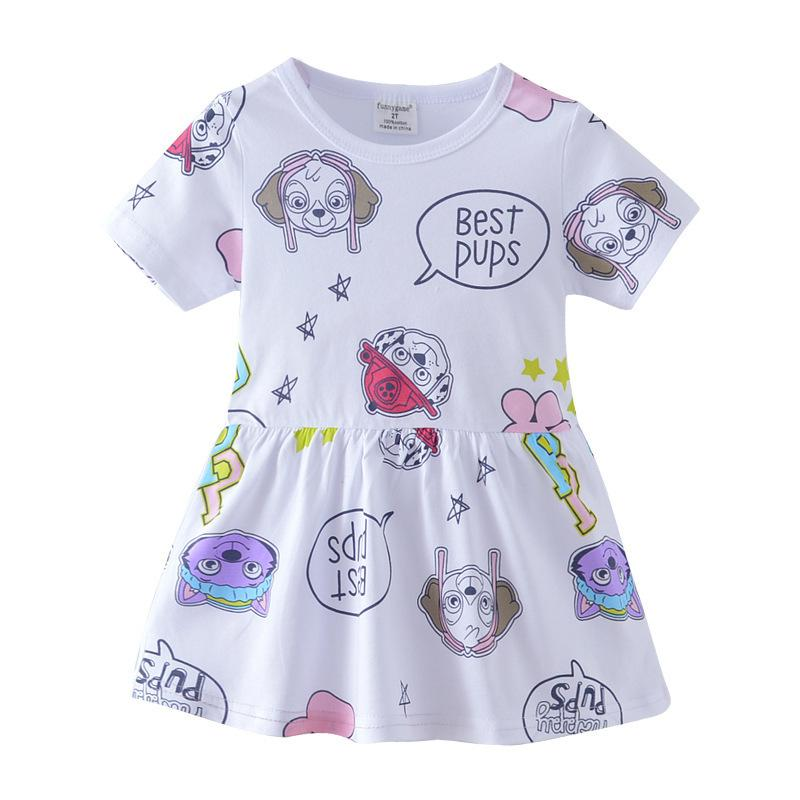 a5d84c83021b good quality White Best Pups Girls dress Cotton Fabric Children's Clothing  Nice Quality Kids Holiday Beach Outwear