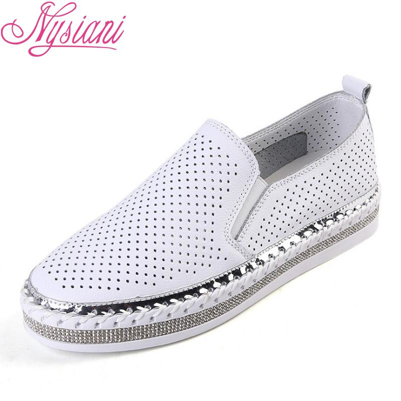 d9f19c88b2b 2019 Summer Hollow Out Split Leather Women Flat Platform Loafer Shoes Slip  On Round Toe Casual Students White Shoes Nysiani Hiking Shoes Prom Shoes  From ...