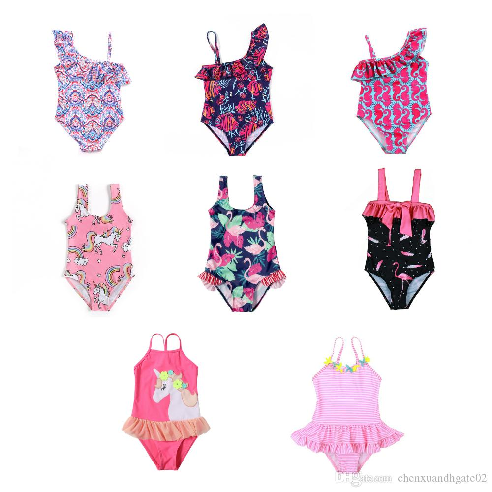 2019 Girl Swimwear Cartoon Doll Kids Baby One Piece Swimsuit Beach Bikini 3-10Y
