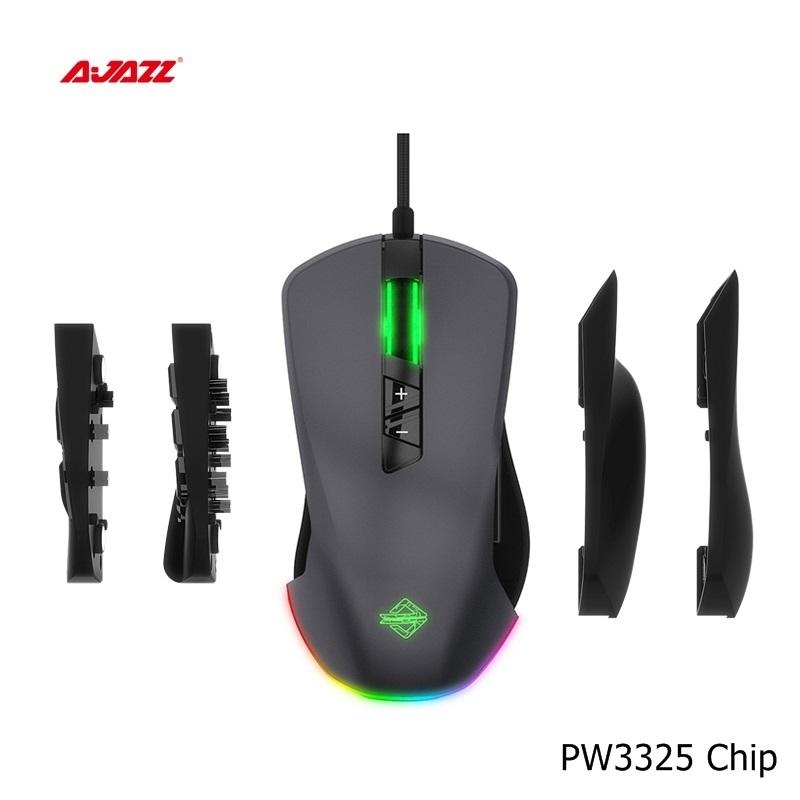5000DPI Ajazz GTI USB Wired RGB Backlit Gaming Mouse With Replaceable Side Buttons and Module RGB Streamer effect,Programmable