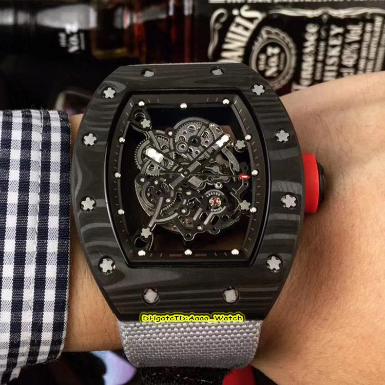 10 Style Top version RM 055 NTPT Skeleton Dial NTPT All Carbon Fiber Case Japan NH Automatic 055 Mens Watch Nylon Band Sport Watches