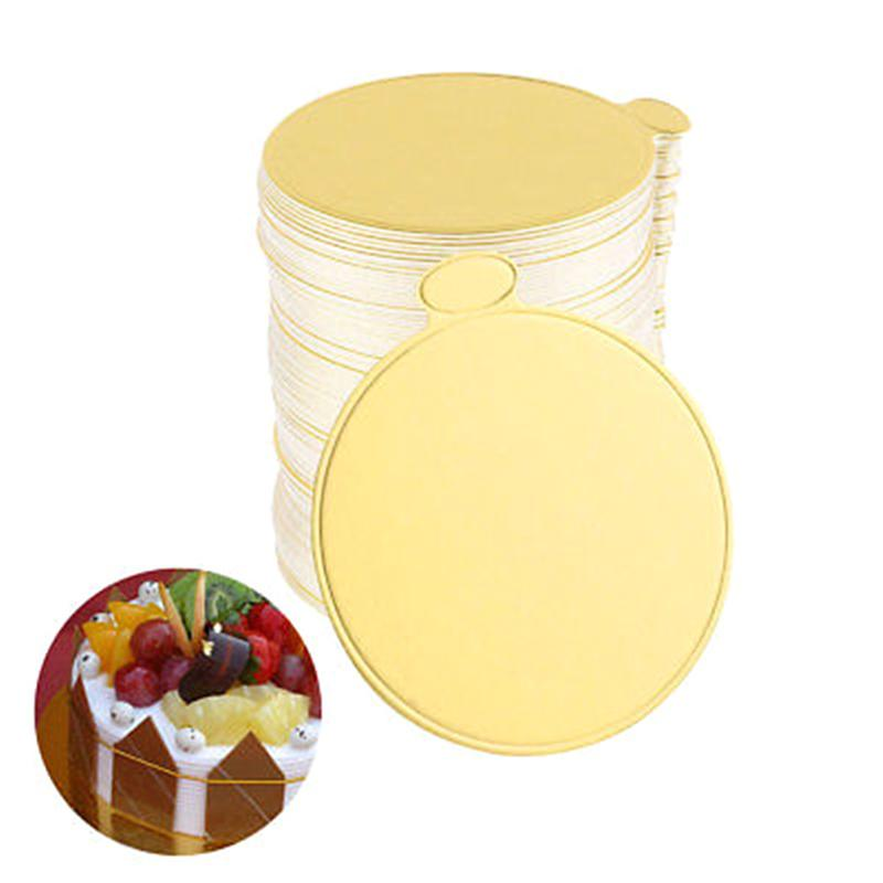 Round Mousse Cake Boards Gold Paper Cupcake Dessert Displays Tray Wedding Birthday Cake Pastry Decorative Tools Kit