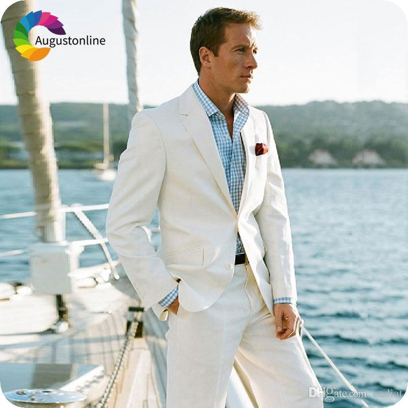 Matrimonio In Spiaggia Abiti : Acquista abiti da uomo su misura avorio matrimonio da spiaggia abiti
