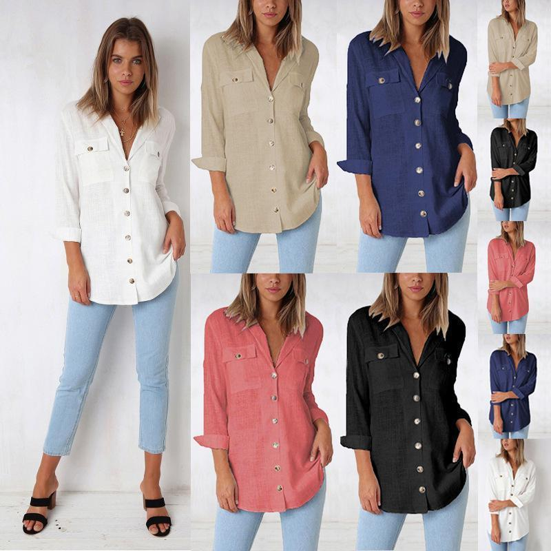 c3791e07ead 2019 New Spring Autumn 2019 Casual Women Blouse Long Sleeve V Neck Button  Design Shirt Pocket Plus Size Solid Women Tops Cotton Blusa From Jamie13