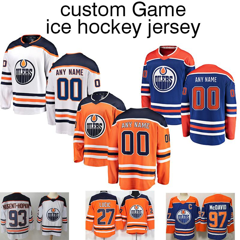 low priced 23823 8ffa2 Customized Jersey Edmonton OilersPlayers Jersey 97 Connor McDavid 93 Ryan  Nugent-Hopkins 27 Milan Lucic shirt Long sleeves