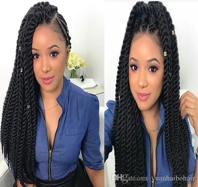 e6bb9ca67eb Synthetic Hair Lace Wig Twist Braids Lace Front Wig Heat Resistant  Synthetic Hair Crochet Braids Lace Wig for Black Women Free Shipping