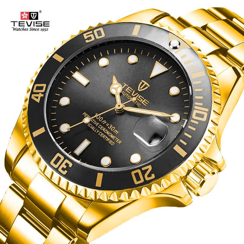 Tevise Top Brand Men Mechanical Watches Automatic Business Stainless Steel Watch Fashione Luxury Gold Clock Relogio Masculino Y19052103