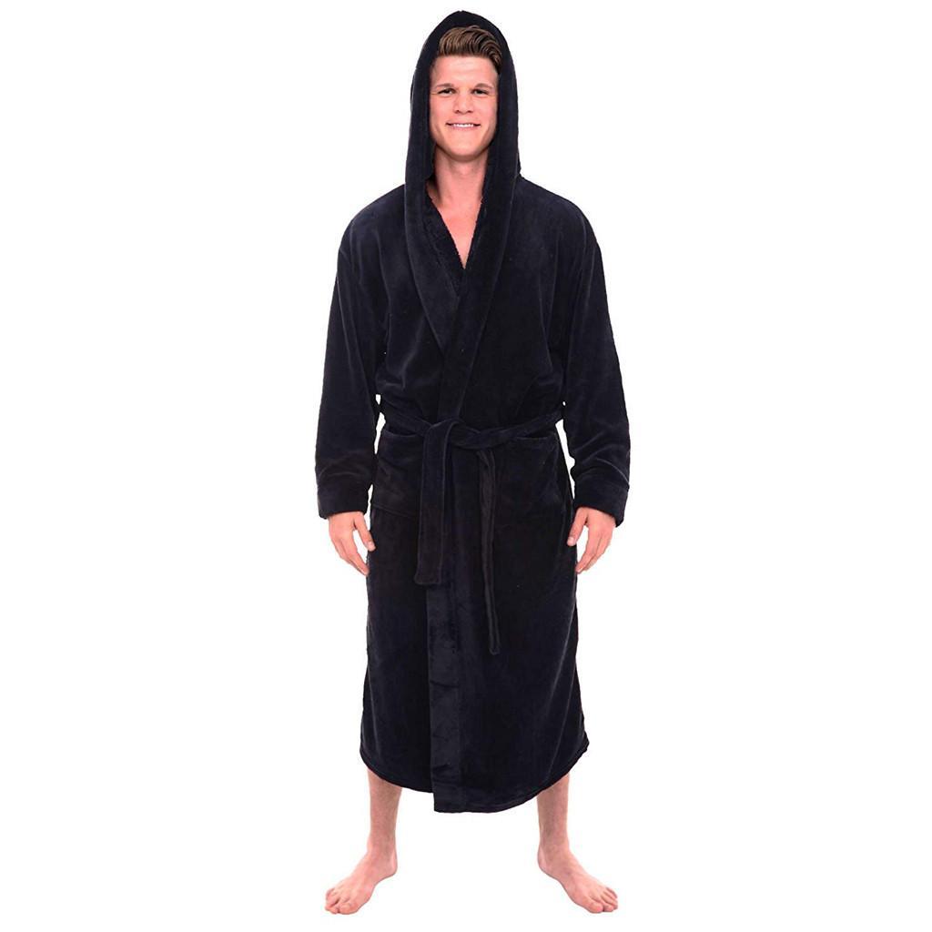 Men s Winter Lengthened Plush Shawl Bathrobe Home Clothes Long Sleeve Robe  Coat Peignoir Homme Albornoz Hombre Dropshipping Robes Cheap Robes Men s  Winter ... 883580778