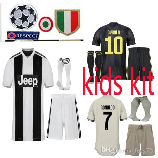 2018 2019 Juventus HOME RONALDO Kids Kit Soccer Jerseys 18 19 ... a811664ff