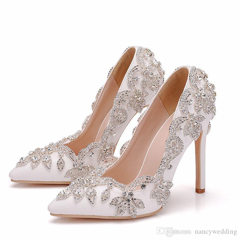 Womens Wedding Shoes Stiletto Heel Ladies Sequin Party Prom Slip On Pumps Size