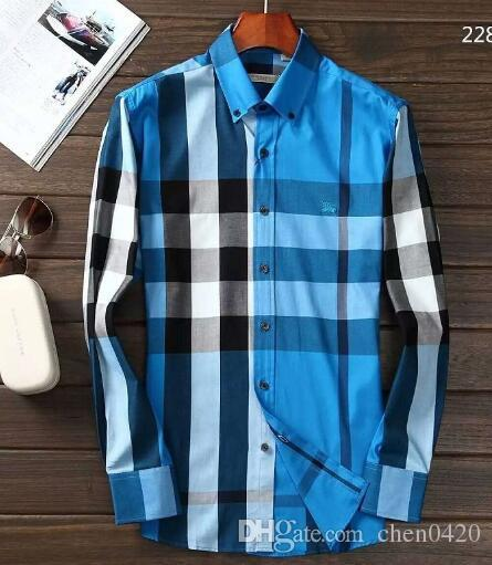 2018 American business self-cultivation plaid shirt, fashion long-sleeved cotton casual shirt striped co-dress shirt 25
