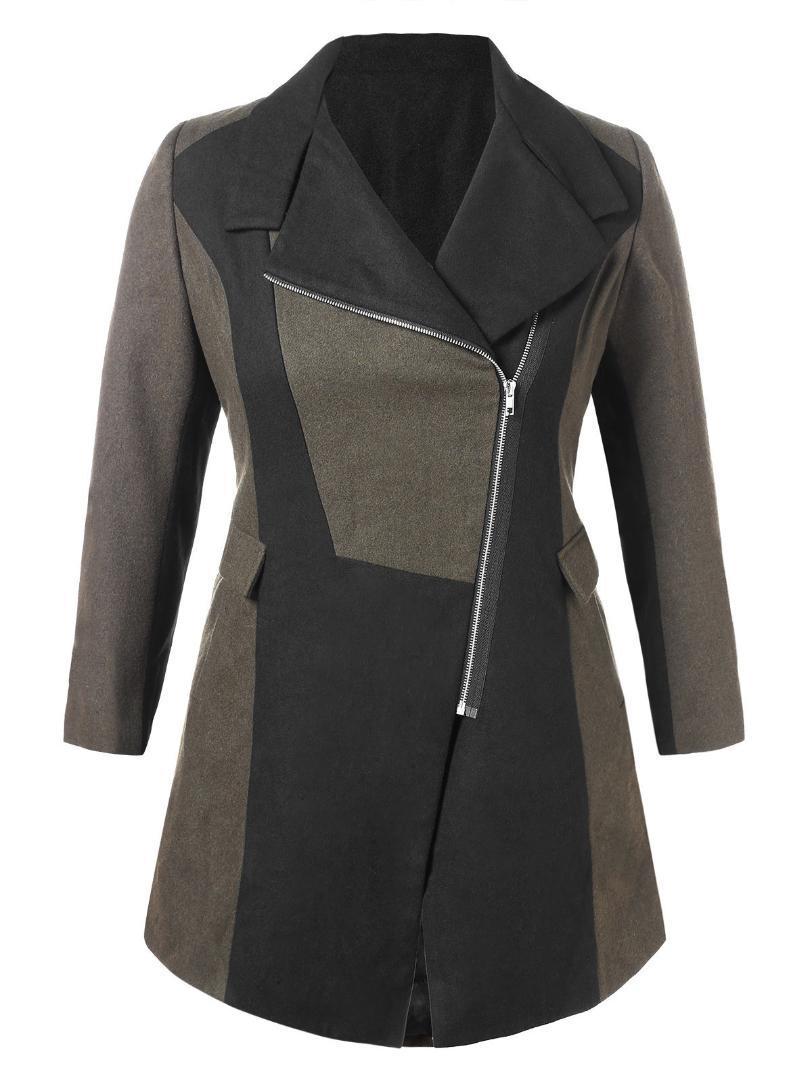 Wipalo Fashion Women Plus Size 5XL Color Block Woollen Coat Turn ... 6db0df434e60