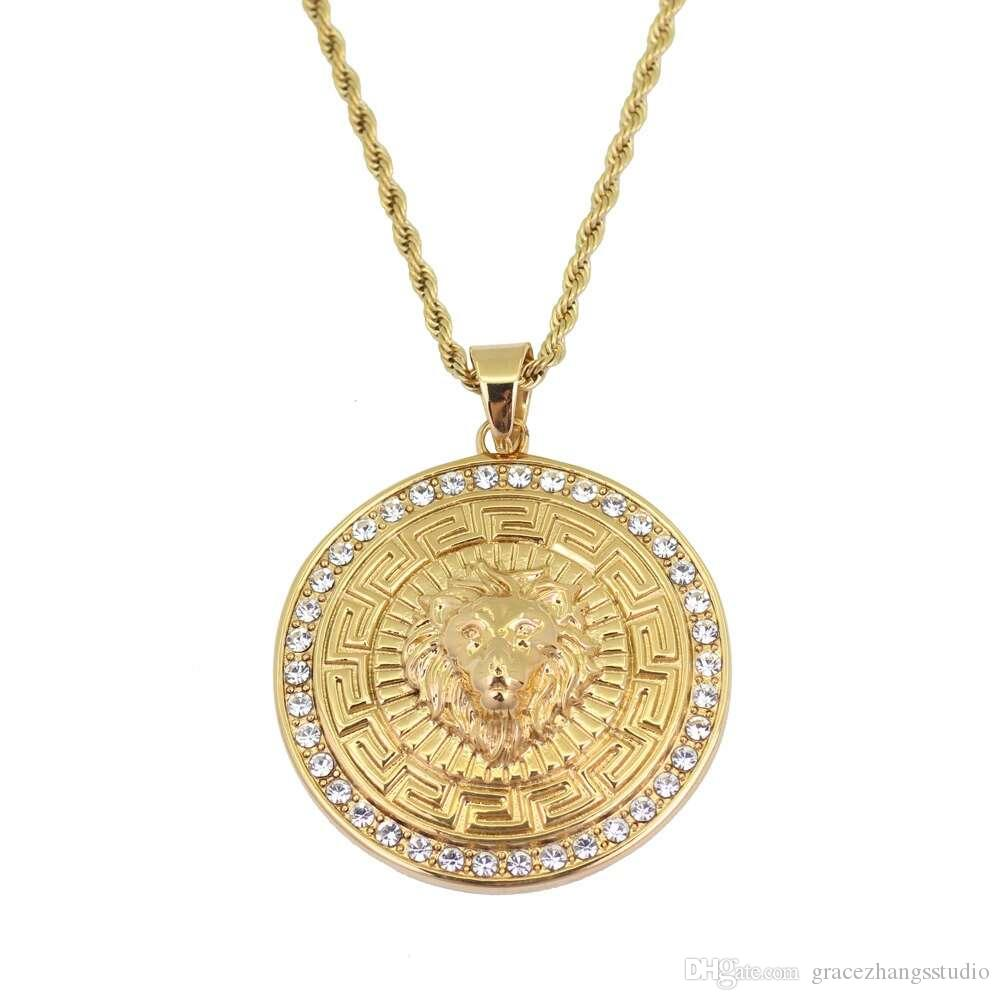 8b316675ecab3 Wholesale Hip Hop Lion Head Diamonds Round Pendant Necklaces For Men Western  Hot Sale Golden Luxury Necklace Stainless Steel Cuban Chains Jewelry Pendant  ...