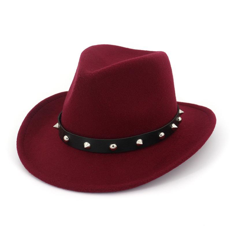 Acquista Unisex Uomo Donna Lana Cappelli Panama Western Cappelli Da Cowboy  Rotolo Brim Sombrero Feltro Di Lana Fedora Trilby Rivetto In Pelle Decorato  A ... c5faadb0b8b5