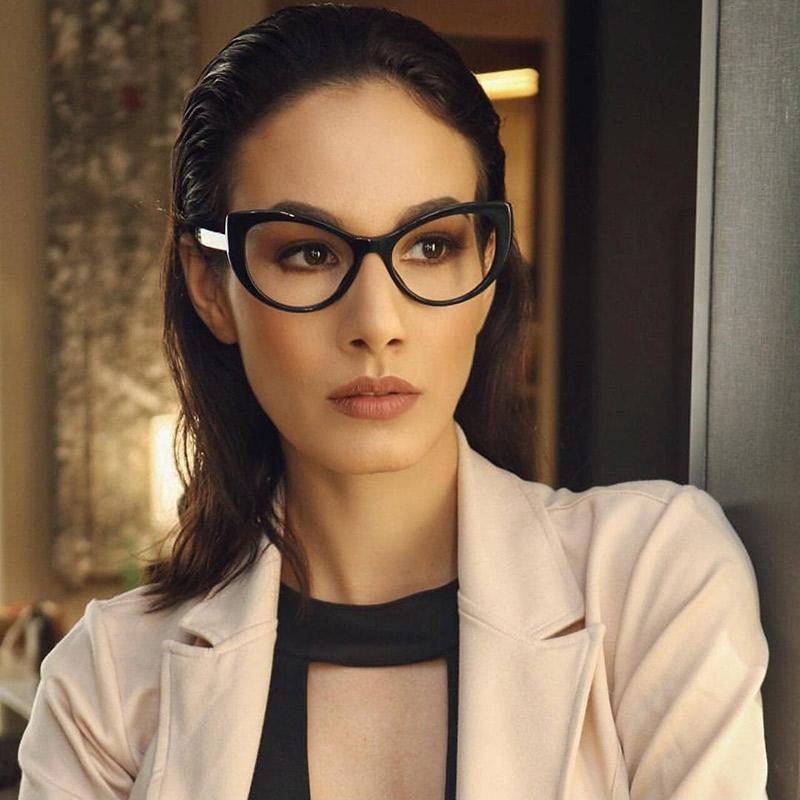 eff8ad934 Compre Mulheres Cat Eye Design Óculos Ópticos Prescrição Acetato De Aro  Para Óculos De Aro Grande Óculos De Armação De Moda 93307 De Wonderliu, ...