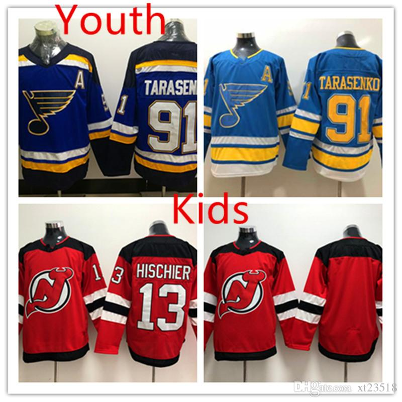 new style 0c4e5 bd9c4 Youth #91 Vladimir Tarasenko St. Louis Blues Jersey Stitched RED Kids #13  Nico Hischier New Jersey Devils Jersey