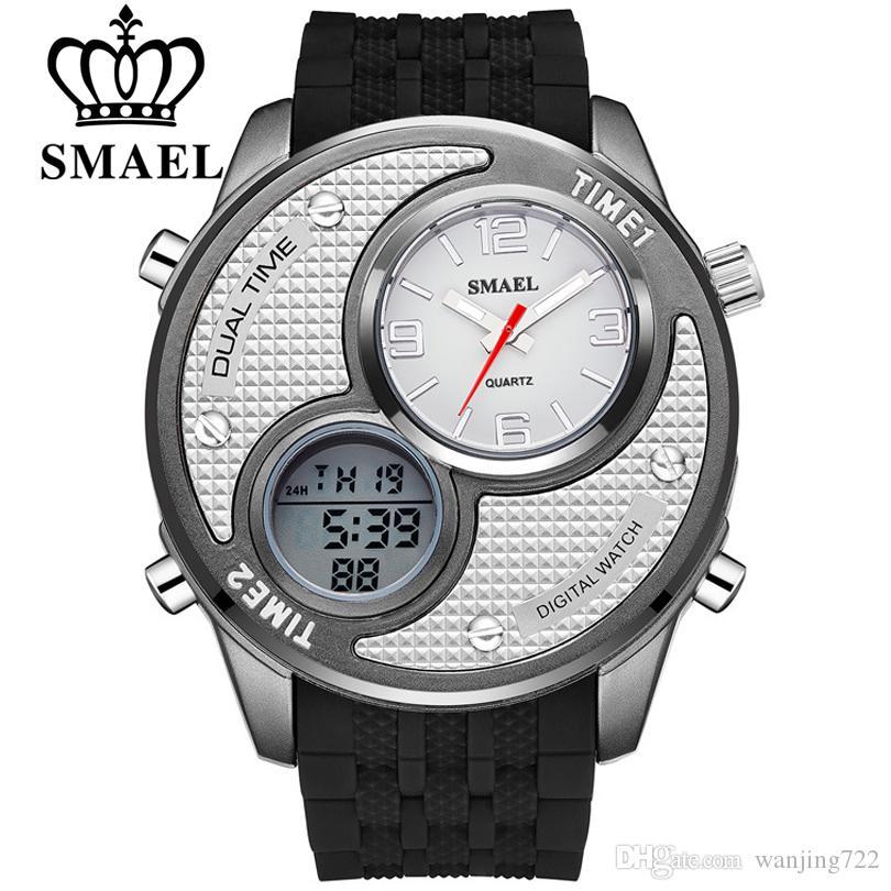 b94e3df3a6d6 Compre SMAEL Marca De Lujo Nueva Moda Dual Dial Display Reloj Hombres Reloj  Deportivo Reloj De Cuarzo Analógico Correa De Silicona Relojes De Pulsera  Reloj ...