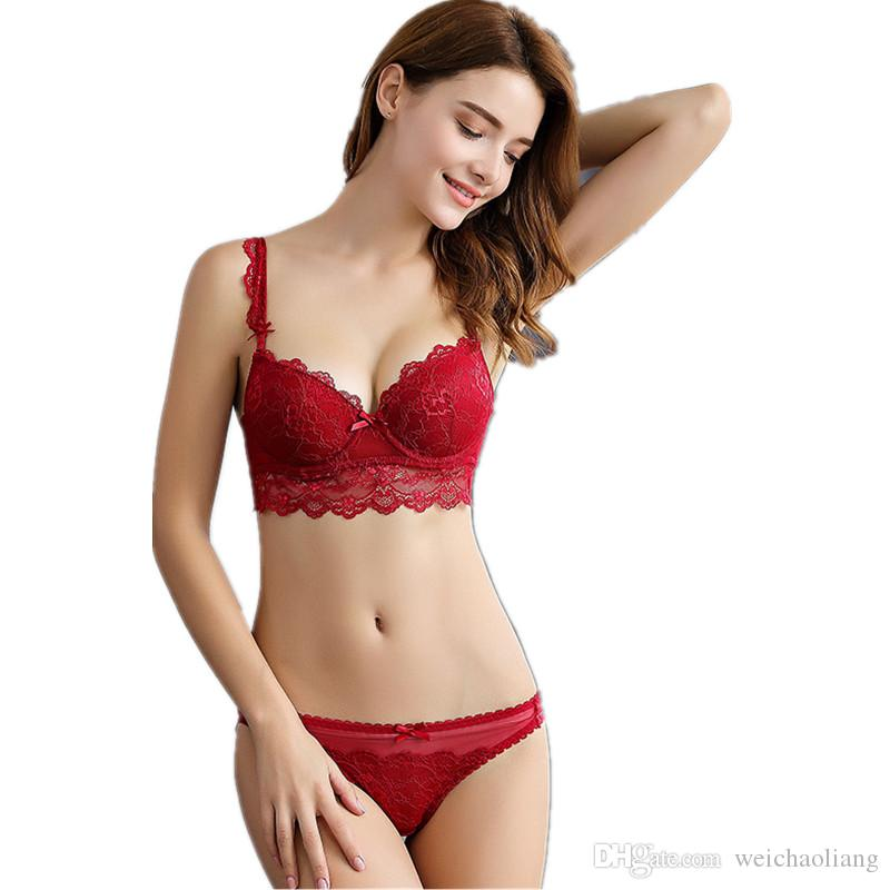 Lcw Women's Fashion New sexy breathable non-bumping ultra-thin lace collection of milk large size underwear bra set