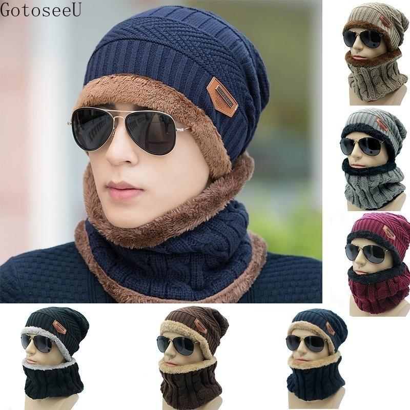 check out f019f a98b8 2019 GotoseeU Men S Knit Winter Hat Beanie Warm Baggy And Scarf From  Huanbaoxin,  78.94   DHgate.Com