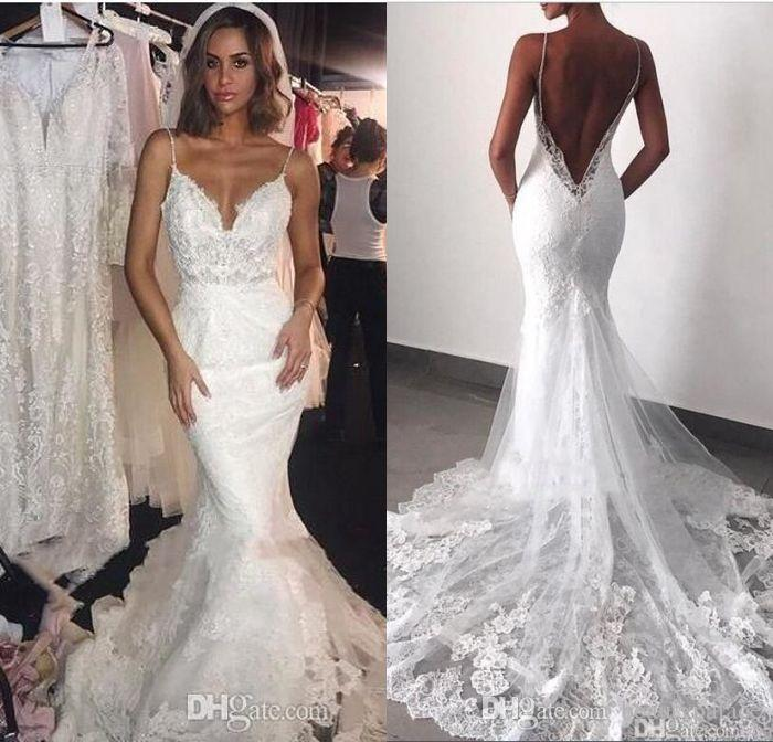 Backless Wedding Dresses.Modern Backless Wedding Dresses 2019 Sexy Open Back Mermaid Spaghetti Straps Appliqued Lace Long Bridal Gowns Formal