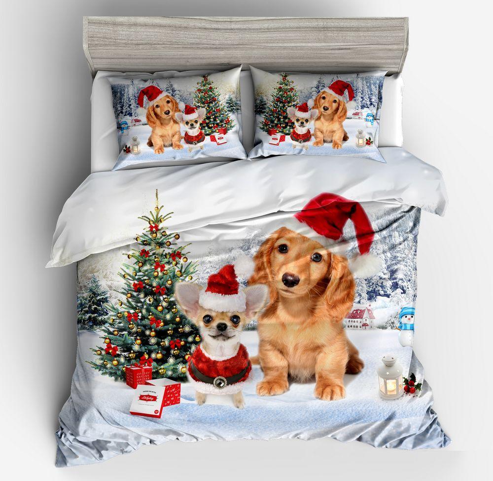 Lovely Puppy Bedding Sets Christmas Tree Duvet Cover For Boys Girls