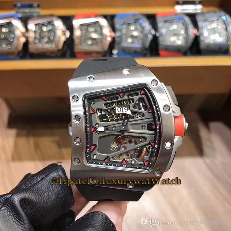 RM70-01 Alain Prost Skeleton Big Date Dial Tourbillon Automatic RM 70-01 Men Watch Silvery Case Rubber Strap Road Racing Bicycle Watches 003