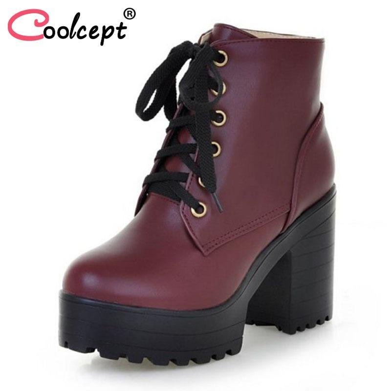 Großhandel Coolcept Frauen Warm High Heel Stiefel Stiefel Stiefel Winter Riemchen ... 106524