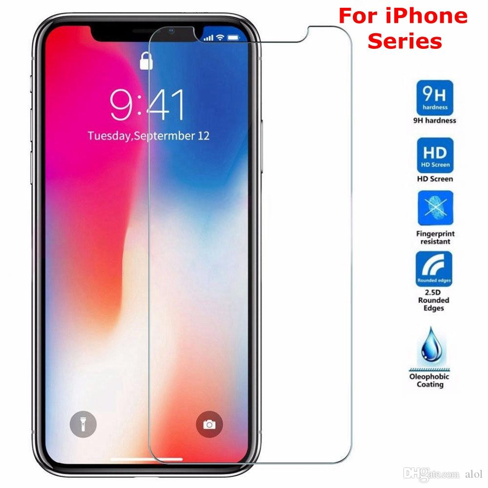 Tempered glass For iPhone XS Max X 7 8 6 6S Plus 5 5S 5C SE 4S 9H Screen protector Flim Cover guard