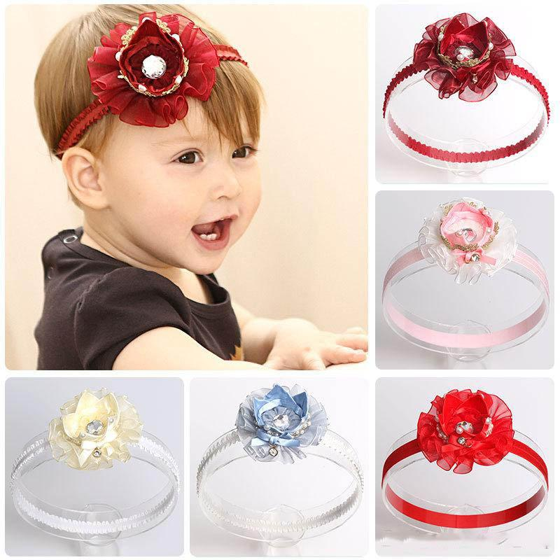 Lovely Newborn Baby Lace Ribbon Crown Headbands for Girl Kids Children Solid Flower Hair Band Party Birthday Gift