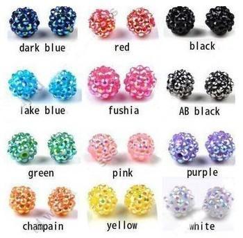 200pcs//lot 10 mm Mixed Micro Pave Disco Cristal Shamballa perles bracelet Spacer