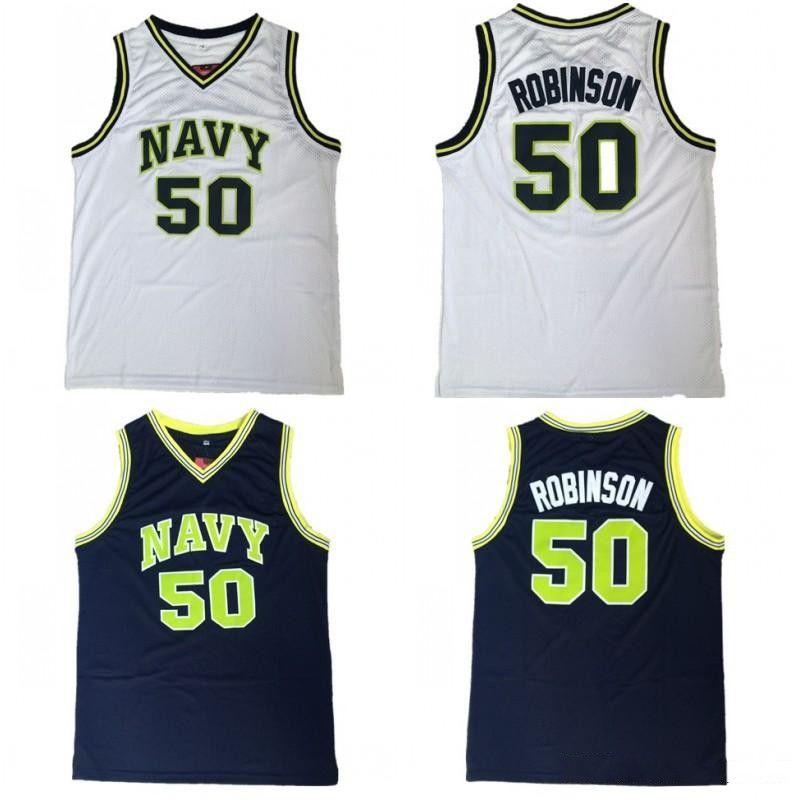 the latest 6925c dfbda NCAA College Naval Academy Navy Midshipmen 50 David Robinson Jersey Men  Navy Blue White Basketball Uniform University Breathable Quality