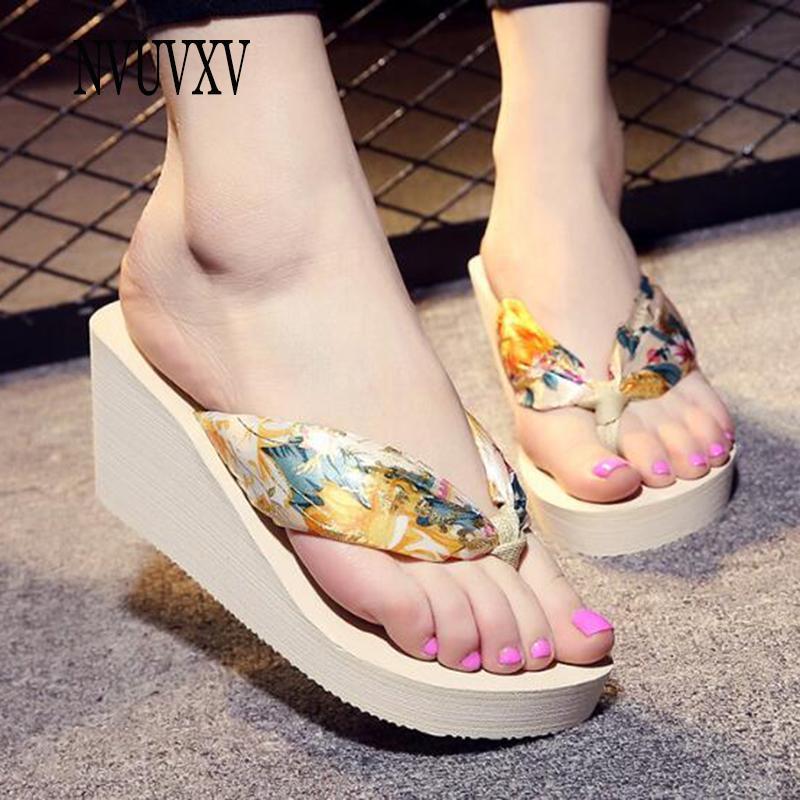0f1cdadaa0e2 Korean Version Bohemian Flip Flops Color Matching Slippers Fashion Wedge  Sandals Trendy Wild Women Shoes New Beach Shoes Sh524 Fashion Shoes Happy  Feet ...