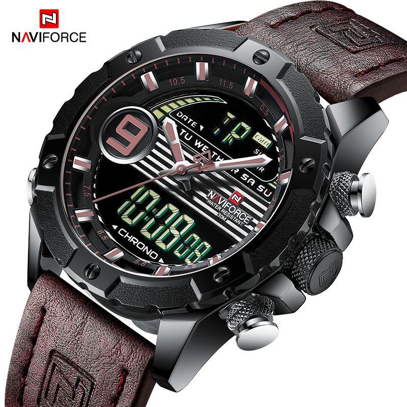 f399775e6f2 Compre NAVIFORCE Homens Multifunções Relógio De Luxo Da Marca Relógios  Desportivos De Quartzo Dos Homens LED Digital À Prova D  Água Relógio De  Pulso ...