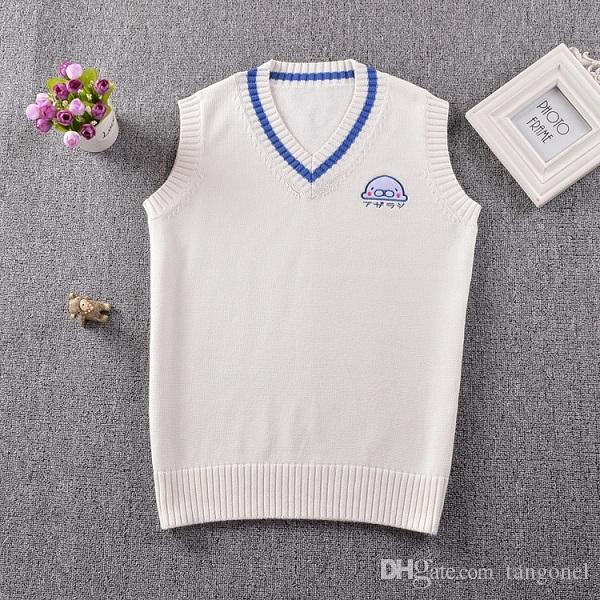 a9adf9093aa2 2019 Seal Embroidery Japanese School Uniform Sweater Vest Sleeveless ...