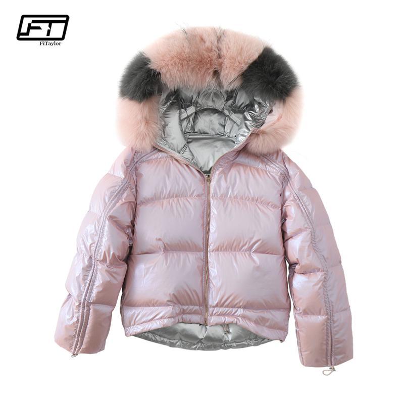9f2d6c71cf69 Fitaylor Winter Jacket Women Real Fur Collar Silver Golden Duck Down ...