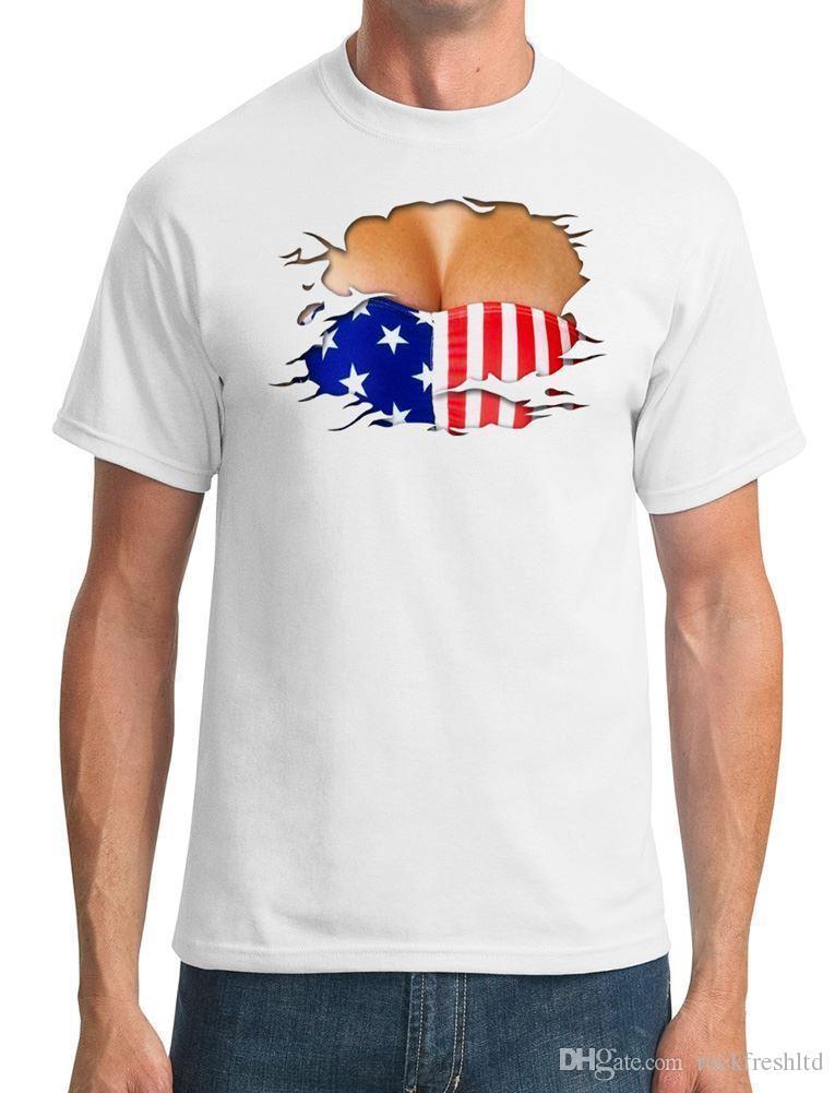 48155802cc9c7 USA Stars And Strips Bikini Ripped Effect Mens T Shirt Funny T Shirt  Slogans Shirt Shirt From Rockfreshltd, $10.18| DHgate.Com