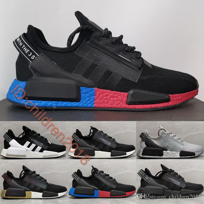 Original NMD R1 V2 Running Shoes For Men Women Sneakers 2020 Brand Core Black Carbon Triple Black Outdoor Sports Shoes Size 36 45