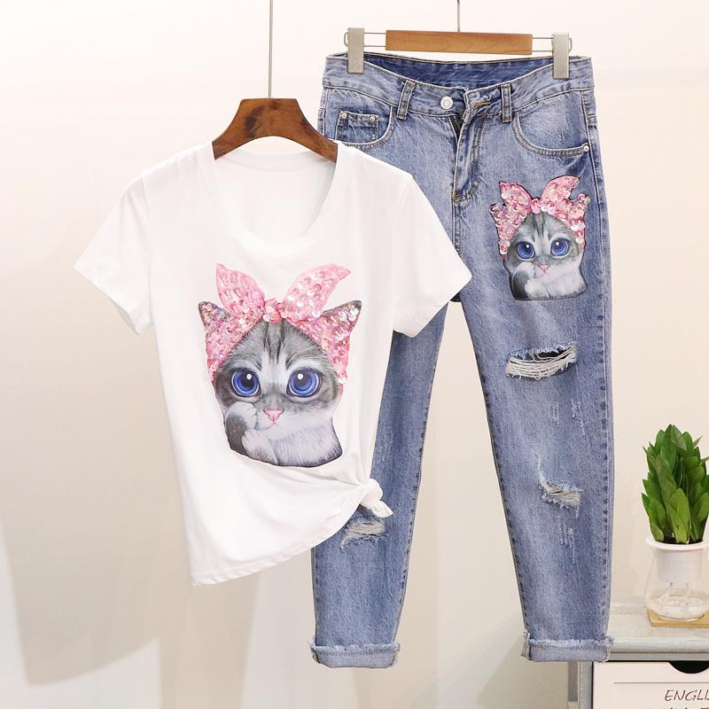 e9a157a0fbc4 Amolapha Women Cartoon T Shirts Jeans Suits Casual Short Sleeve Sequins  Tshirt+calf-length Denim Pants Sets For Ladies Woman Q190509