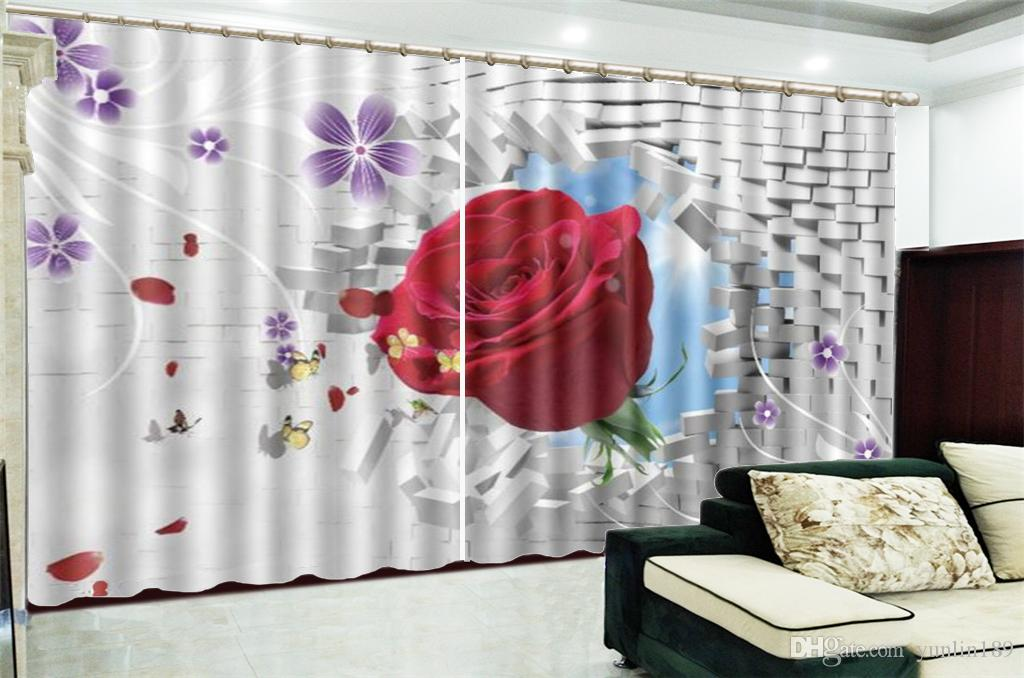 3d Print Curtain For Living Room Price Delicate Rose From The Wall 3d Digital Printing HD Practical Beautiful Curtains