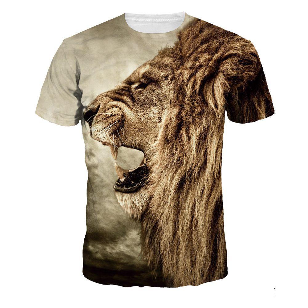 4855fb6463139 Boy Summer clothing 2019 new products3d Printing T t-shirt Digital Lion  Head Large Code Men s Wear Motion short sleeveb