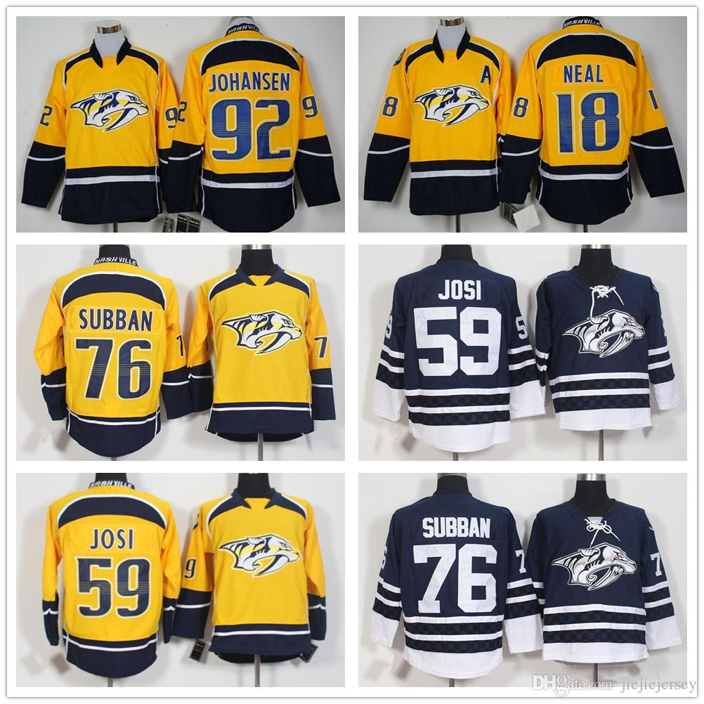 best website 93979 ca78e Hot 76 P.K. PK Subban Predators Jerseys Nashville Ice Hockey 59 Roman Josi  Jersey 19 Ryan Johansen Team Color Yellow White Alternate Blue