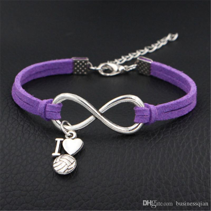 New Fashion Infinity Love I Heart Volleyball Bracelets & Bangles Handmade Adjustable Purple Leather Suede Cuff Women Men Casual Punk Jewelry
