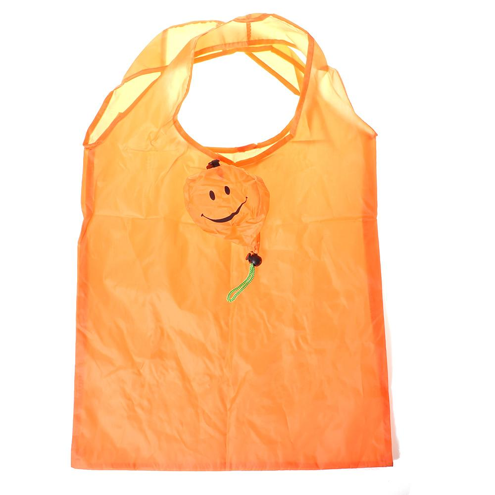 1pc Outdoor Orange Smiling Face Nylon Waterproof Folding Shopping Bag Eco Foldable Reusable Handbag Grocery Storage Bag