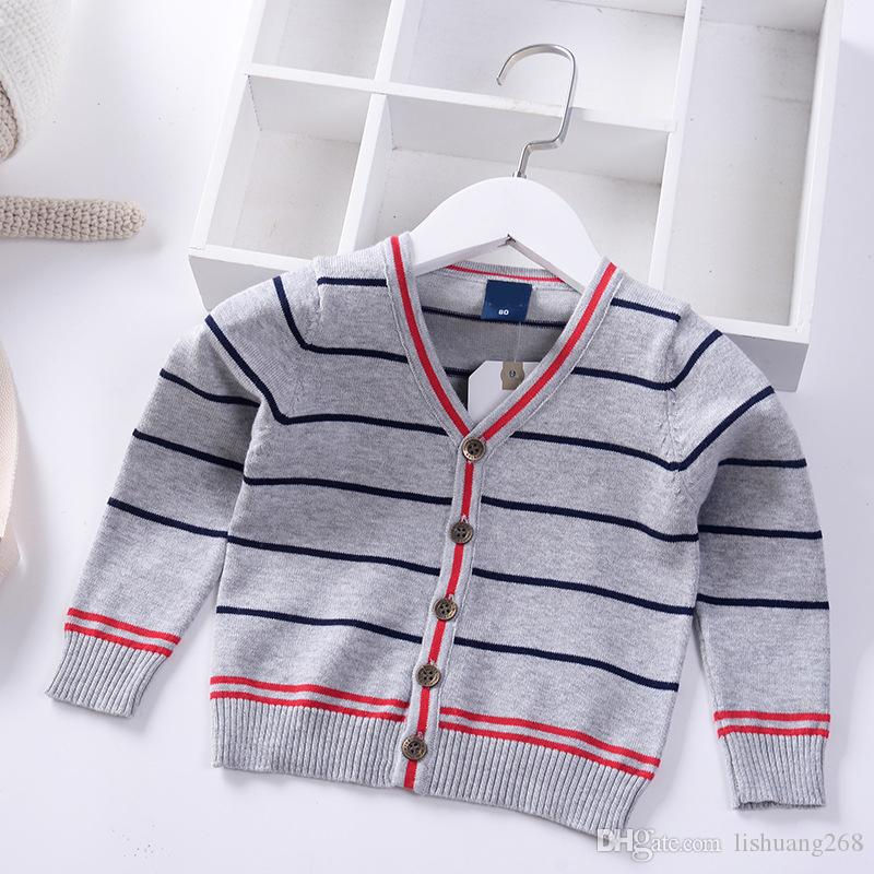 85da6ed8466126 2019 Spring Autumn Winter New Knitted Cardigan Boy Kids Sweater Children  Clothing Baby Long Sleeve Stripe Thick Warm Boys Pullover Knitted Sweater  Patterns ...
